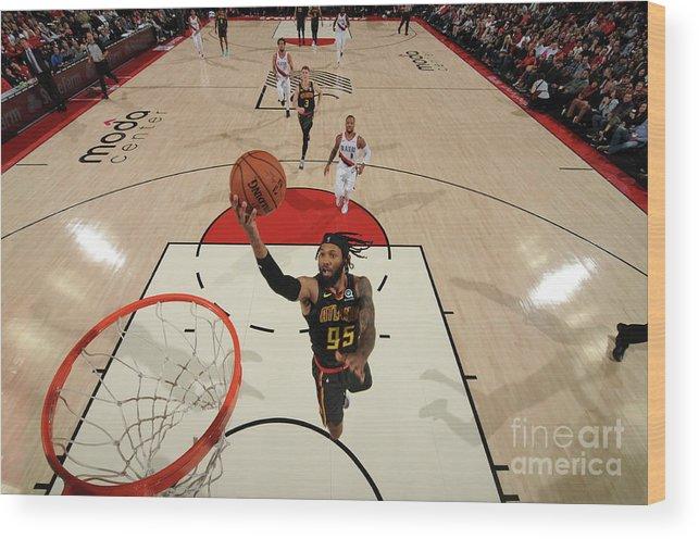 Nba Pro Basketball Wood Print featuring the photograph Atlanta Hawks V Portland Trail Blazers by Cameron Browne