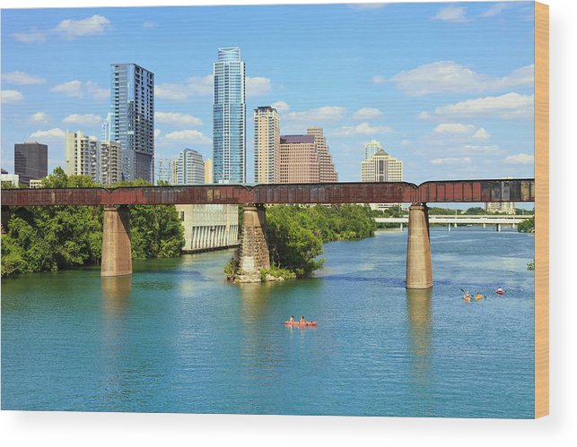 Scenics Wood Print featuring the photograph Austin Texas Skyline, Colorado River by Dszc