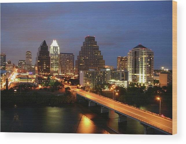 Water's Edge Wood Print featuring the photograph Austin Texas Skyline - Unique by Xjben