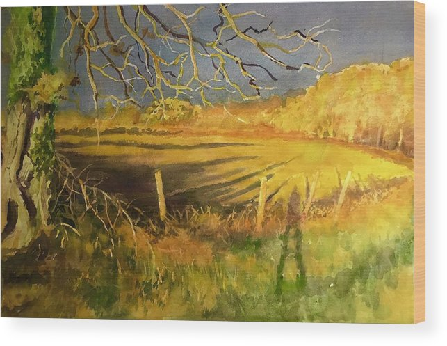 Aautumn Wood Print featuring the painting Autumn Field by Carolyn Epperly