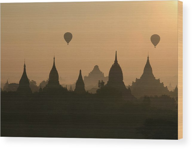 Tranquility Wood Print featuring the photograph Balloons Over Bagan, Burma by Joe & Clair Carnegie / Libyan Soup