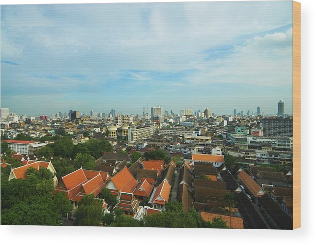 Tropical Tree Wood Print featuring the photograph Bangkok View With Temple Roofs 2 by Sndrk