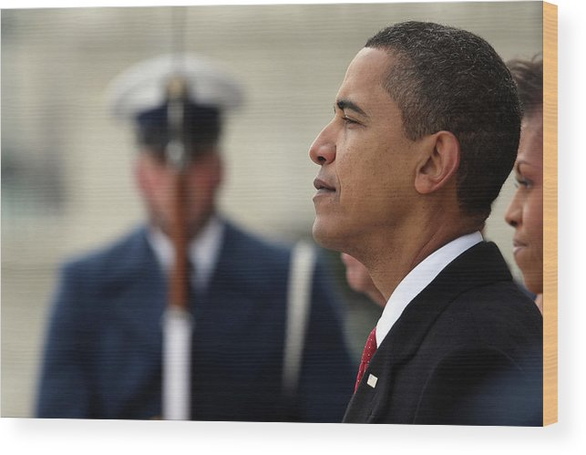 Looking Wood Print featuring the photograph Barack Obama Is Sworn In As 44th by John Moore