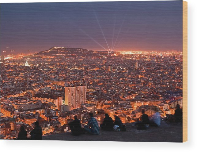 Catalonia Wood Print featuring the photograph Barcelona At Night With People by Artur Debat