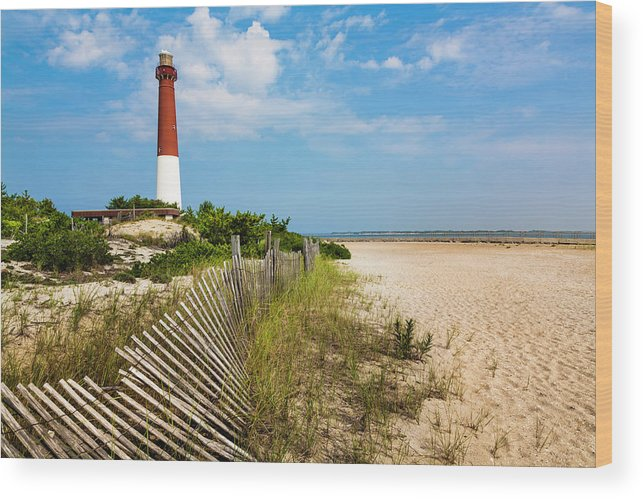 Water's Edge Wood Print featuring the photograph Barnegat Lighthouse, Sand, Beach, Dune by Dszc