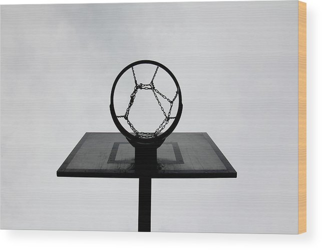 Outdoors Wood Print featuring the photograph Basketball Hoop by Christoph Hetzmannseder