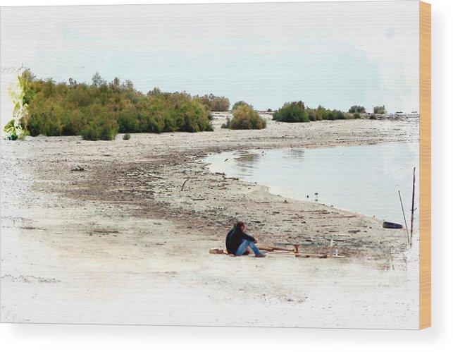 Watercolor Wood Print featuring the photograph Beach Goers-The Salton Sea in Digital Watercolor by Colleen Cornelius