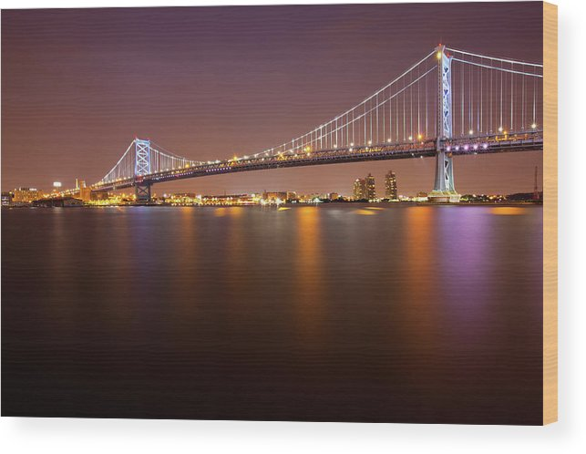 Built Structure Wood Print featuring the photograph Ben Franklin Bridge by Richard Williams Photography