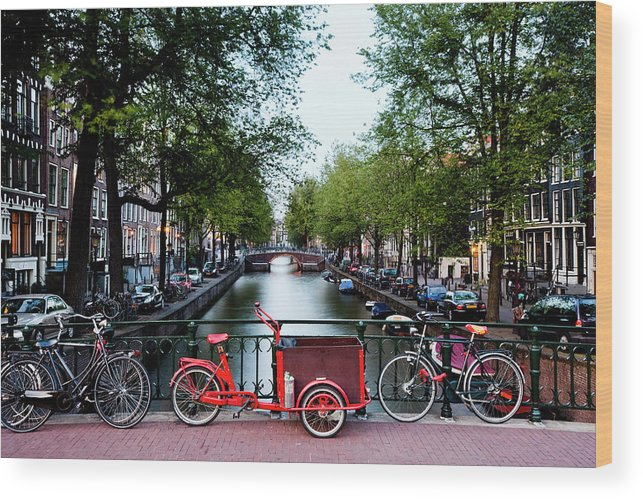 North Holland Wood Print featuring the photograph Bicycles Parked On Bridge Over by Jorg Greuel