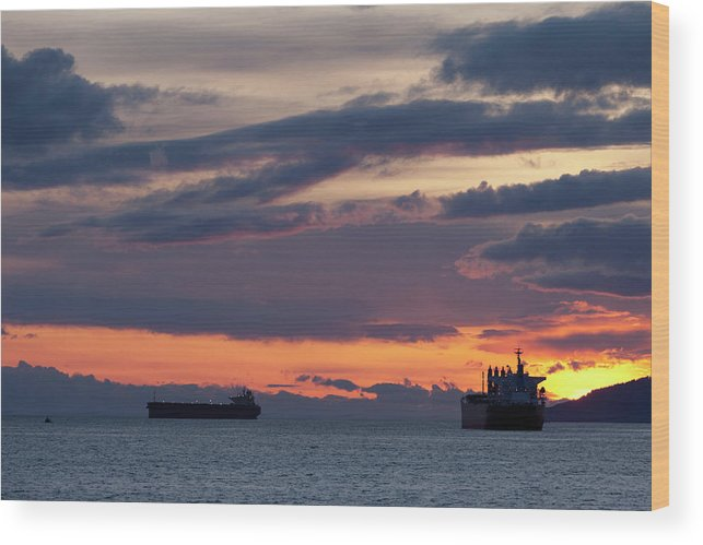 Scenics Wood Print featuring the photograph Big Boat Silhouettes by Visualcommunications