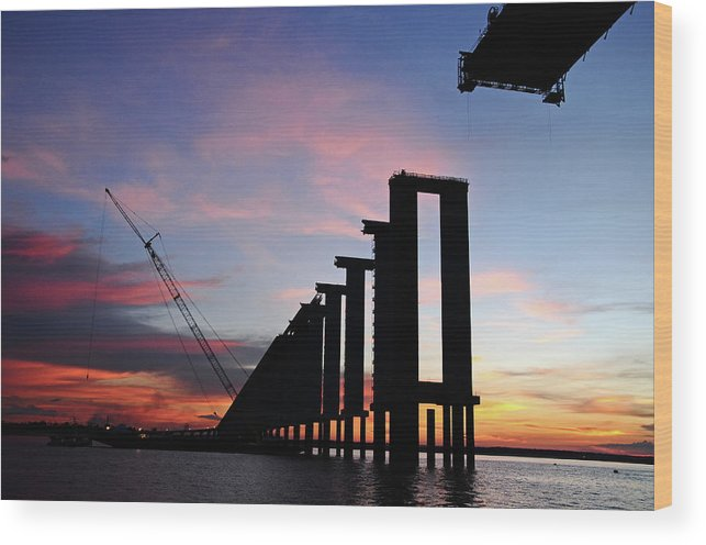 Tranquility Wood Print featuring the photograph Black River Bridge by Fabionutti