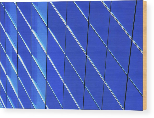 Outdoors Wood Print featuring the photograph Blue Glass Modern Building by Joelle Icard