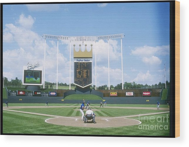 American League Baseball Wood Print featuring the photograph Blue Jays V Royals by Stephen Dunn