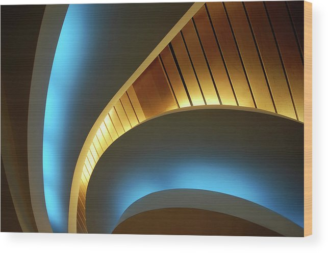 Curve Wood Print featuring the photograph Blue Swirl by Copyright Ralph Grunewald