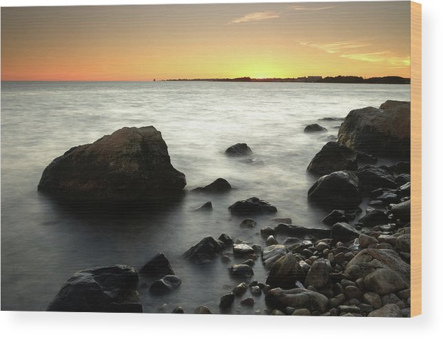 Water's Edge Wood Print featuring the photograph Bluff Point Sunset by Ericfoltz