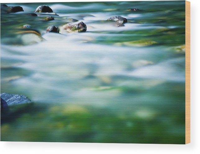 Scenics Wood Print featuring the photograph Blurred River by Assalve