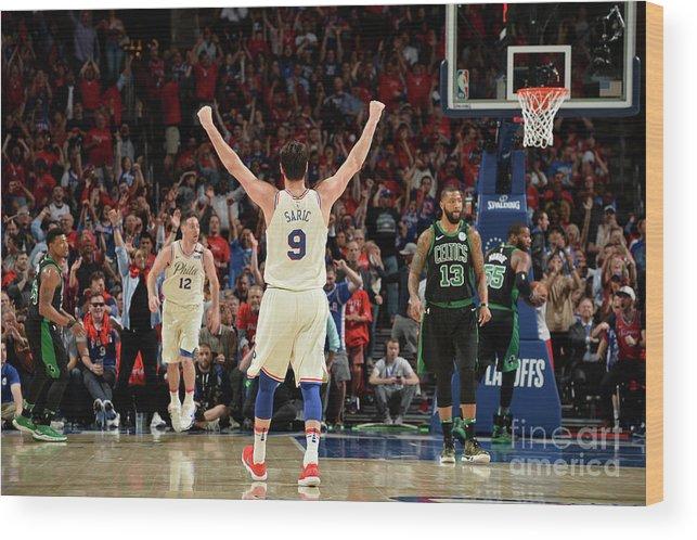 Playoffs Wood Print featuring the photograph Boston Celtics V Philadelphia 76ers - by David Dow