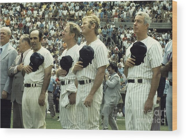 American League Baseball Wood Print featuring the photograph Boston Red Sox V New York Yankees by Olen Collection