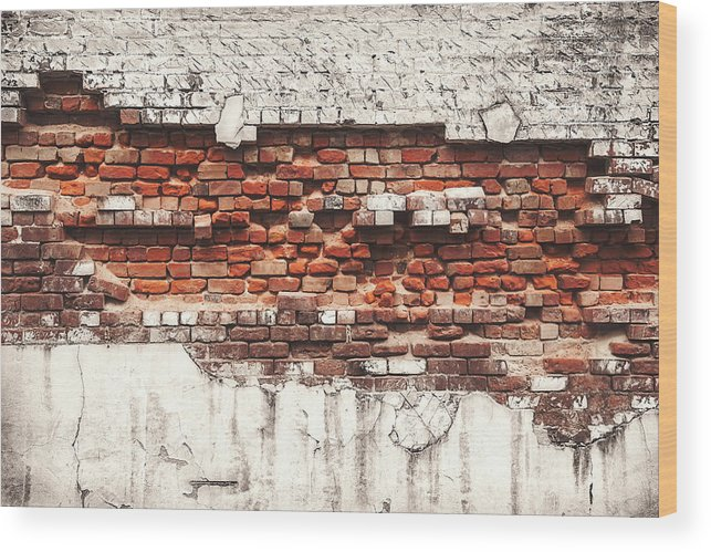 Tranquility Wood Print featuring the photograph Brick Wall Falling Apart by Ty Alexander Photography