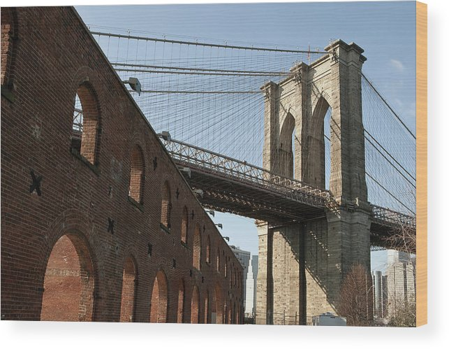 Arch Wood Print featuring the photograph Brooklyn Bridge & Empire Fulton Ferry by Just One Film
