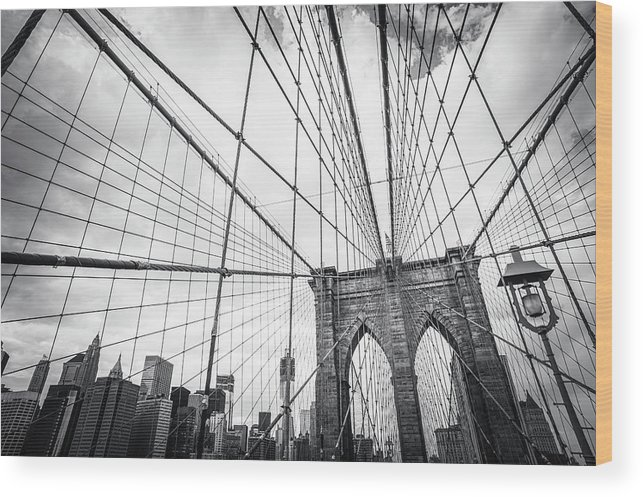 Downtown District Wood Print featuring the photograph Brooklyn Bridge And New York Skyline by Cirano83