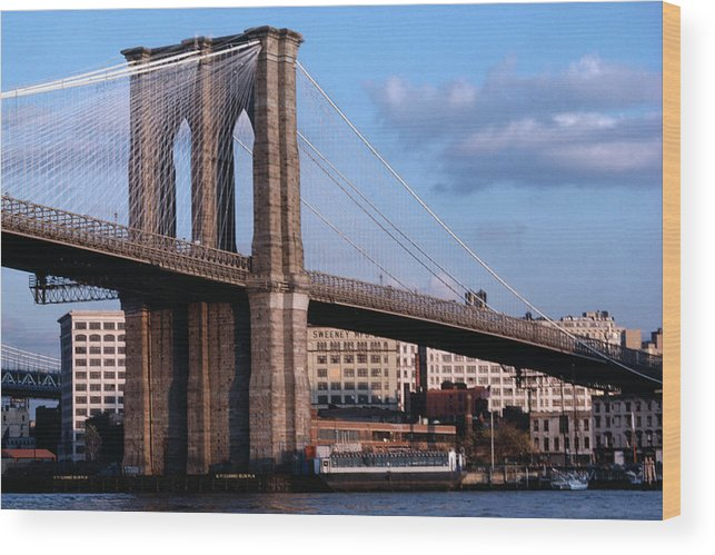 Built Structure Wood Print featuring the photograph Brooklyn Bridge by Dick Luria