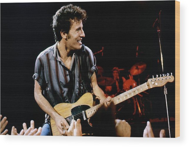 Bruce Springsteen Wood Print featuring the photograph Bruce Springsteen Live by Larry Hulst