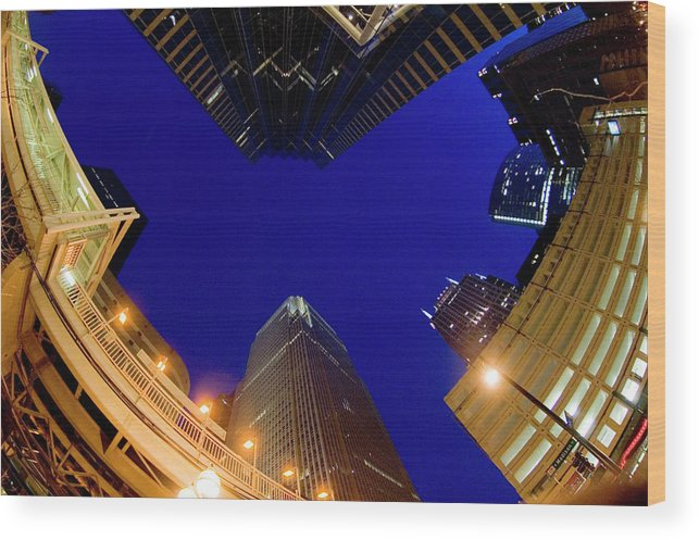 Clear Sky Wood Print featuring the photograph Buildings, Low Angle View by By Ken Ilio