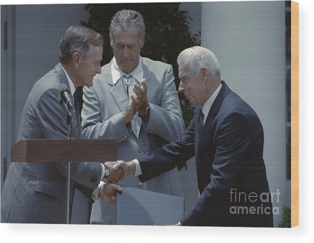 People Wood Print featuring the photograph Bush Shakes Dimaggios Handted Williams by Bettmann