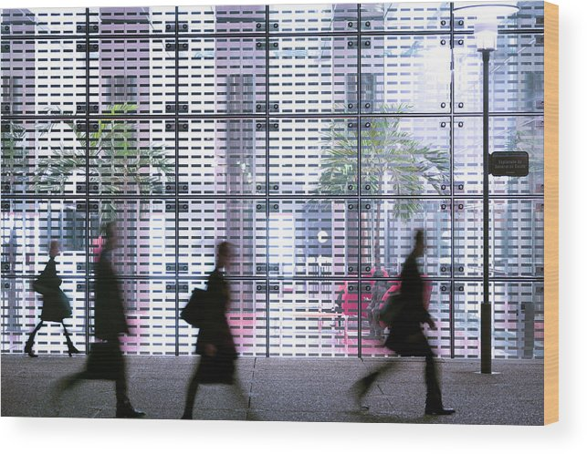 People Wood Print featuring the photograph Business People Passing Modern Office by Eschcollection