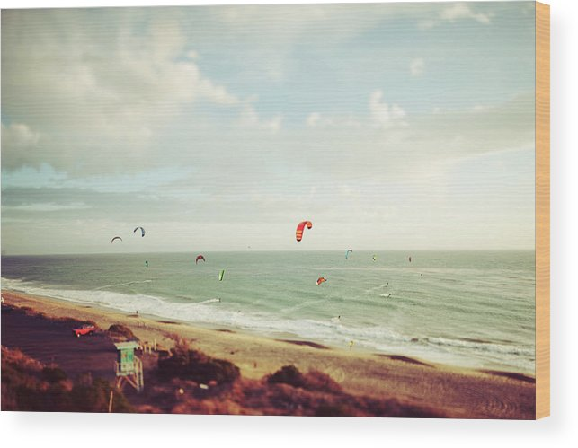 California Wood Print featuring the photograph California Tilt Shifted Kite Surfers by Kevinruss