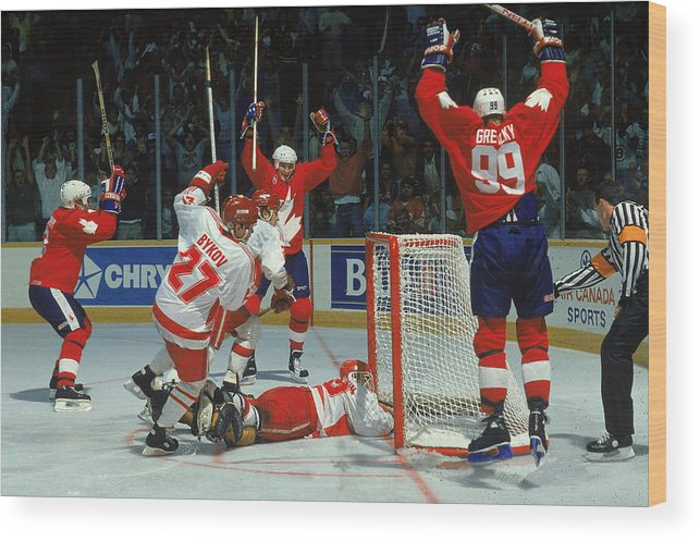 1980-1989 Wood Print featuring the photograph Canada Cup Victory by B Bennett