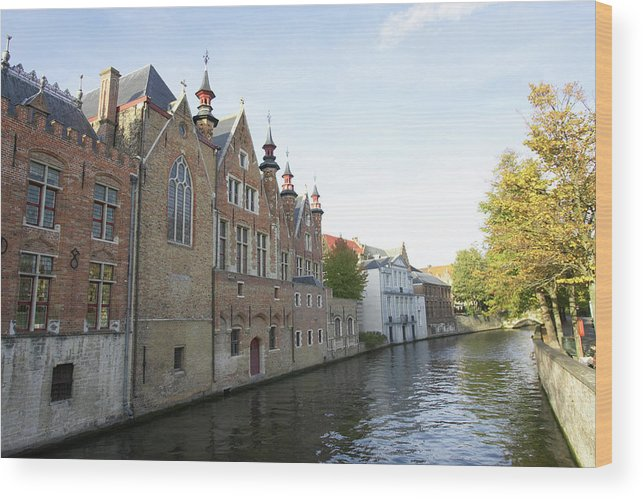Old Town Wood Print featuring the photograph Canal In The Old Town Of Brugge by Christof Koepsel