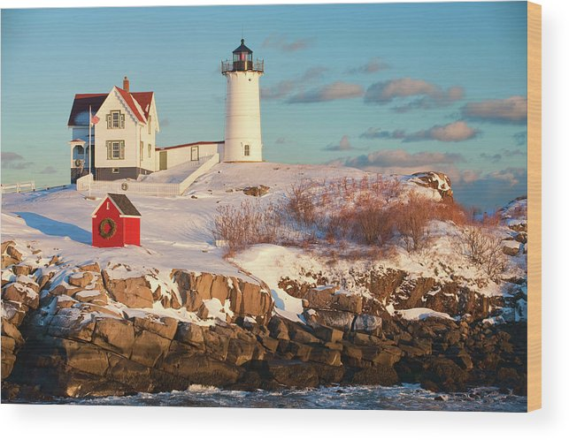 Snow Wood Print featuring the photograph Cape Neddick Nubble Light by Kickstand