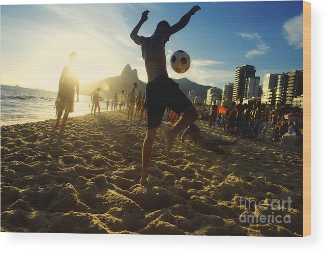 Unrecognizable Wood Print featuring the photograph Carioca Brazilians Playing Altinho by Lazyllama