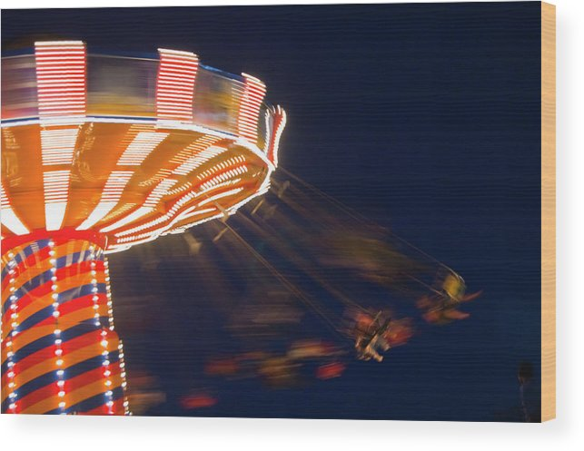 Blurred Motion Wood Print featuring the photograph Carnival Ride by By Ken Ilio