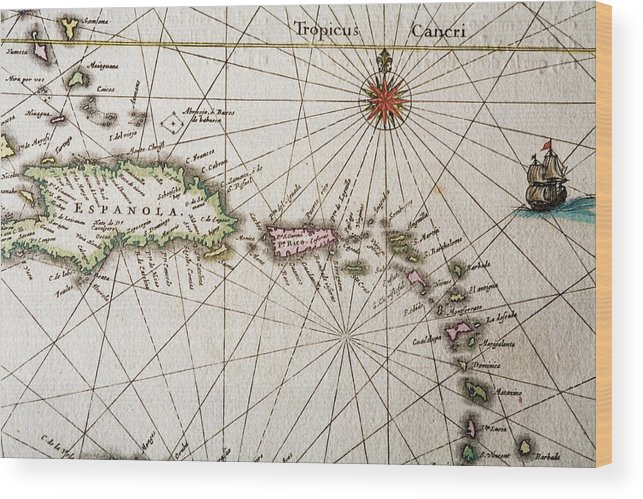 Engraving Wood Print featuring the digital art Carribean Islands by Goldhafen