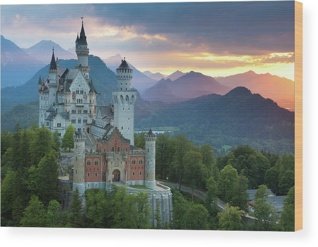 Scenics Wood Print featuring the photograph Castle Neuschwanstein With A Dramatic by Ingmar Wesemann