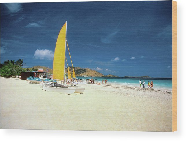Orient Beach Wood Print featuring the photograph Catamarans And People On Martin Orient by Medioimages/photodisc