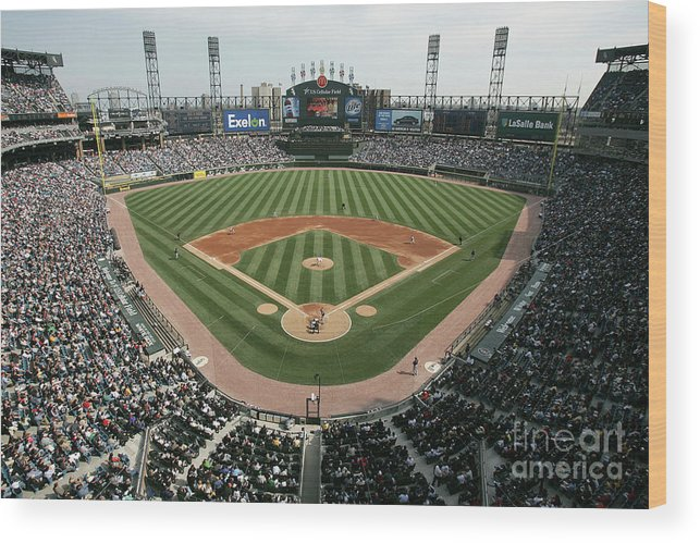 American League Baseball Wood Print featuring the photograph Celeveland Indians V Chicago White Sox by Jonathan Daniel