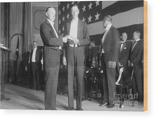 Mature Adult Wood Print featuring the photograph Charles Lindbergh Receiving Hubbard by Bettmann