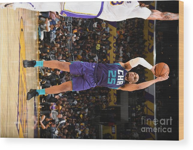 Nba Pro Basketball Wood Print featuring the photograph Charlotte Hornets V Los Angeles Lakers by Andrew D. Bernstein