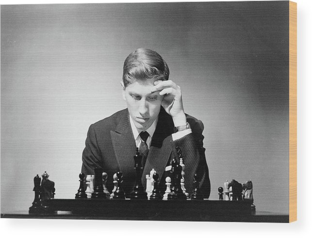 Chess Wood Print featuring the photograph Chess Champion Robert J. Fisher Playing by Carl Mydans