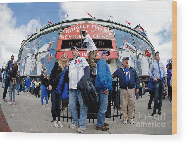 American League Baseball Wood Print featuring the photograph Chicago Cubs Fans Watch Game Four In by Jon Durr