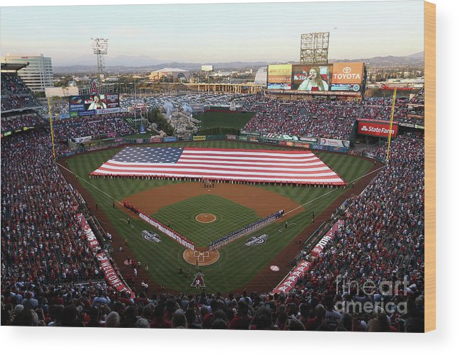 American League Baseball Wood Print featuring the photograph Chicago Cubs V Los Angeles Angels Of by Sean M. Haffey