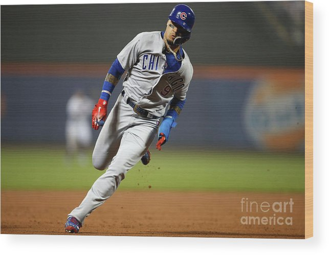 American League Baseball Wood Print featuring the photograph Chicago Cubs V New York Mets by Adam Hunger