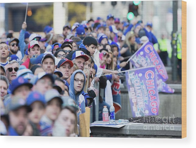 American League Baseball Wood Print featuring the photograph Chicago Cubs Victory Celebration by Tasos Katopodis