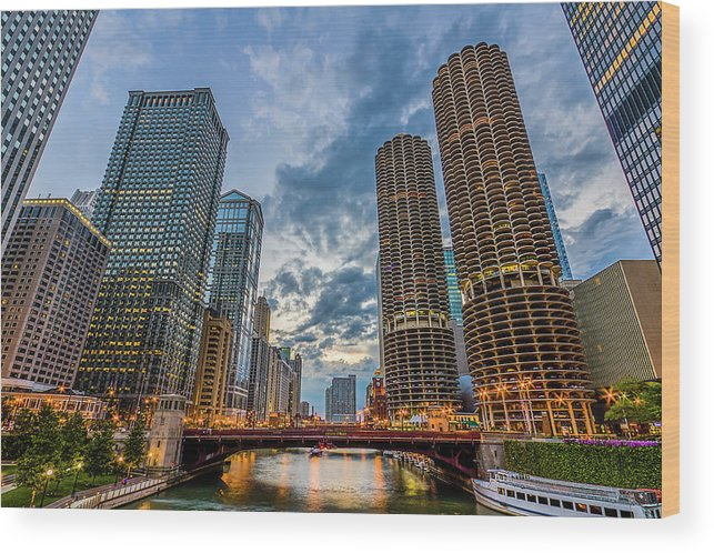 Chicago River Wood Print featuring the photograph Chicago River Sunset by Carl Larson Photography