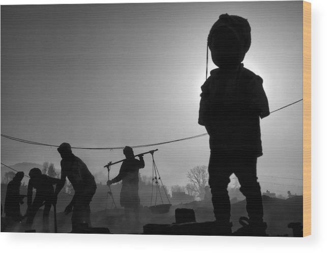 Nepal Wood Print featuring the photograph Child Labour Is Just Not Fair by Yvette Depaepe