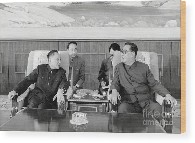 People Wood Print featuring the photograph Chinese And Korean Leaders by Bettmann